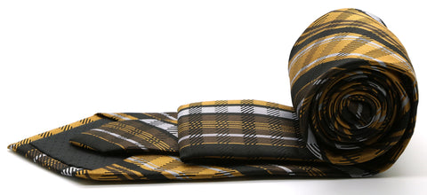 Mens Dads Classic Brown Striped Pattern Business Casual Necktie & Hanky Set VO-11