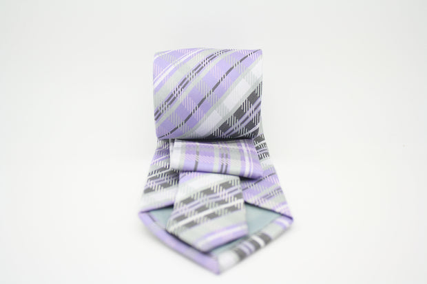 Mens Dads Classic Purple Striped Pattern Business Casual Necktie & Hanky Set VO-12 - Ferrecci USA