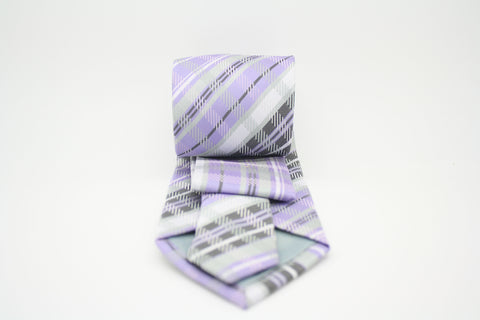 Mens Dads Classic Purple Striped Pattern Business Casual Necktie & Hanky Set VO-12