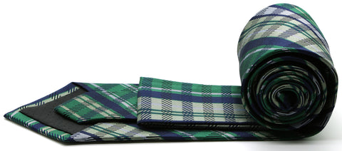 Mens Dads Classic Green Striped Pattern Business Casual Necktie & Hanky Set VO-2