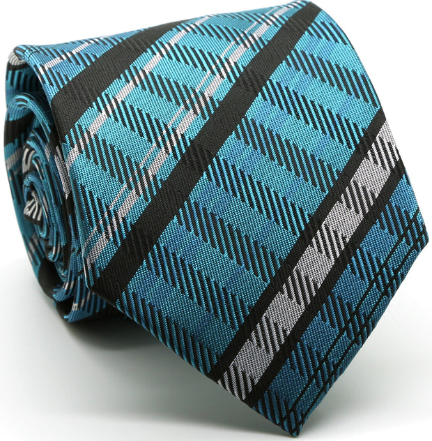 Mens Dads Classic Turquoise Striped Pattern Business Casual Necktie & Hanky Set VO-5 - Ferrecci USA
