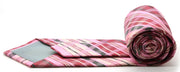 Mens Dads Classic Pink Striped Pattern Business Casual Necktie & Hanky Set VO-6 - Ferrecci USA