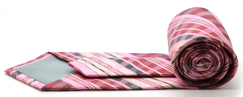 Mens Dads Classic Pink Striped Pattern Business Casual Necktie & Hanky Set VO-6