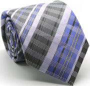 Mens Dads Classic Grey/Purple Striped Pattern Business Casual Necktie & Hanky Set VO-7 - Ferrecci USA