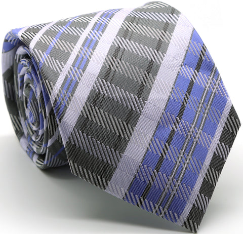 Mens Dads Classic Grey/Purple Striped Pattern Business Casual Necktie & Hanky Set VO-7