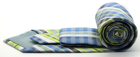 Mens Dads Classic Green Striped Pattern Business Casual Necktie & Hanky Set VO-9