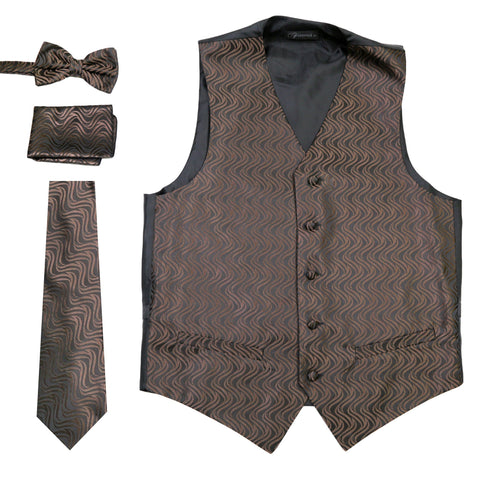 Ferrecci Mens PV150 - Black/Brown Vest Set