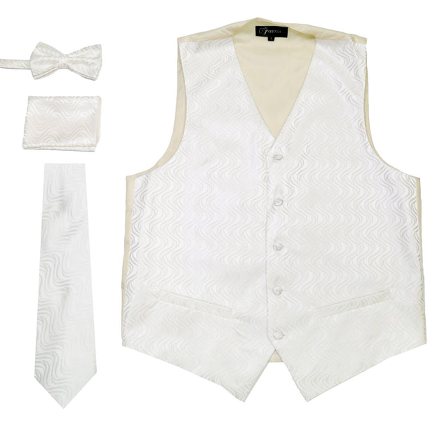 Ferrecci Mens PV150 - White/Cream Vest Set - Ferrecci USA