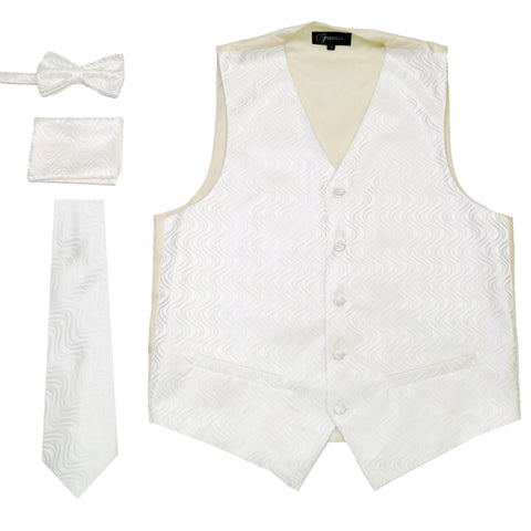 Ferrecci Mens PV150 - White/Cream Vest Set
