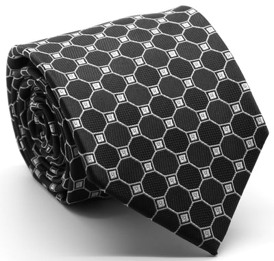 Mens Dads Classic Black Geometric Pattern Business Casual Necktie & Hanky Set W-1 - Ferrecci USA