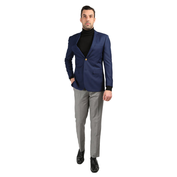 Men's Warwick Gold Button Slim Fit Navy Blazer