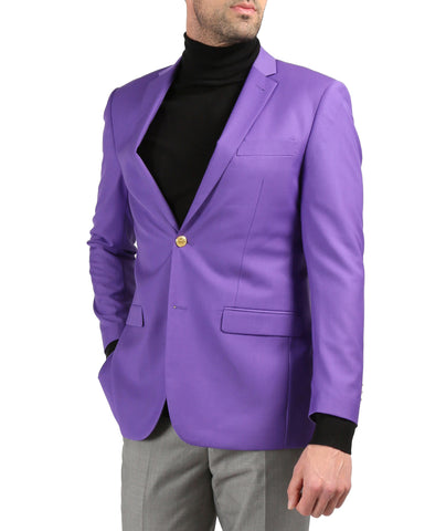 Men's Warwick Gold Button Slim Fit Purple Blazer