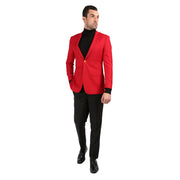 Men's Warwick Gold Button Slim Fit Red Blazer