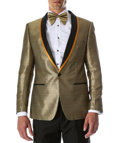 Men's Webber Black & Gold Modern Fit Shawl Collar Tuxedo Blazer - Young Man's Prom Wear