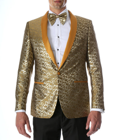 Men's Webber Gold Modern Fit Shawl Collar Tuxedo Blazer - Young Man's Prom Wear