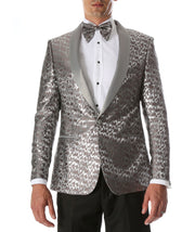 Men's Webber Silver Modern Fit Shawl Collar Tuxedo Blazer - Ferrecci USA