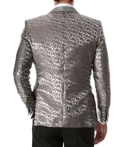 Men's Webber Silver Modern Fit Shawl Collar Tuxedo Blazer