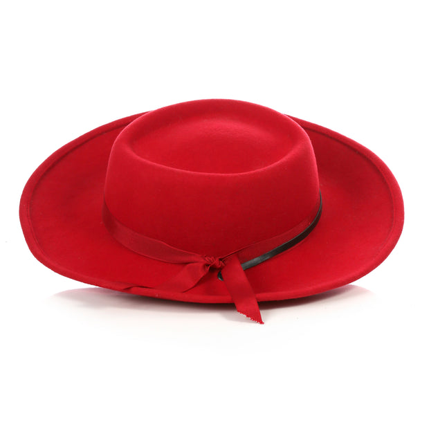 Red Wide Brim Fedora - Earp - Ferrecci USA