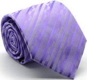 Mens Dads Classic Purple Striped Pattern Business Casual Necktie & Hanky Set X-10 - Ferrecci USA