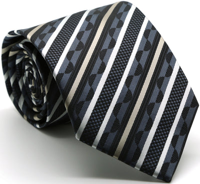 Mens Dads Classic Grey Striped Pattern Business Casual Necktie & Hanky Set X-8 - Ferrecci USA