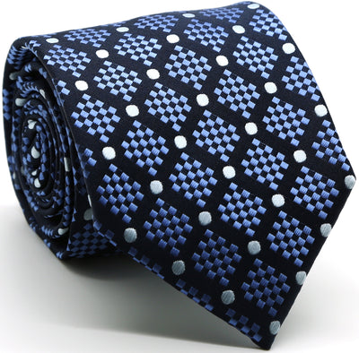 Mens Dads Classic Navy Circle Pattern Business Casual Necktie & Hanky Set XO-3 - Ferrecci USA