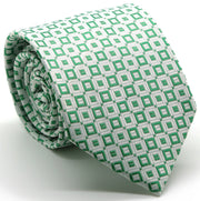 Mens Dads Classic Green Geometric Pattern Business Casual Necktie & Hanky Set Y-6 - Ferrecci USA