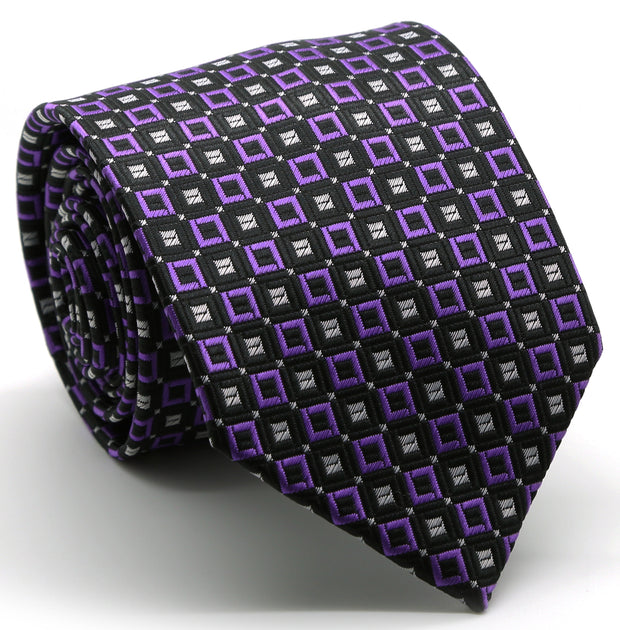 Mens Dads Classic Purple Geometric Pattern Business Casual Necktie & Hanky Set Y-7 - Ferrecci USA