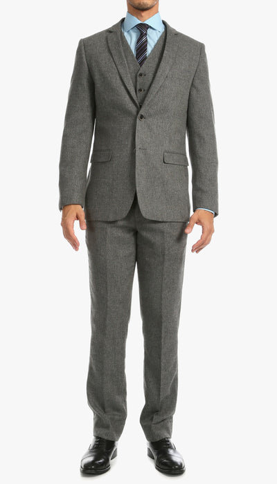 York Grey Slim Fit 3 Piece Herringbone Suit - Ferrecci USA
