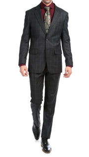 Yves Black Plaid Check Men's Premium 2 Piece Wool Slim Fit Suit - Ferrecci USA