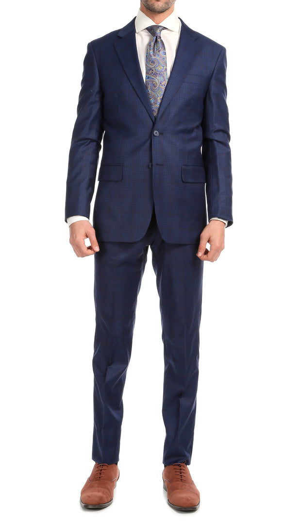 Yves Blue Plaid Check Men's Premium 2 Piece Wool Slim Fit Suit - Ferrecci USA