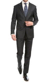 Yves Grey Plaid Check Men's Premium 2 Piece Wool Slim Fit Suit - Ferrecci USA