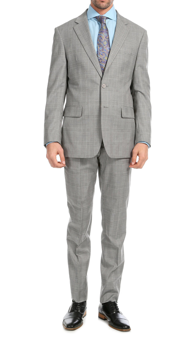 Yves Light Grey Plaid Check Men's Premium 2 Piece Wool Slim Fit Suit - Ferrecci USA