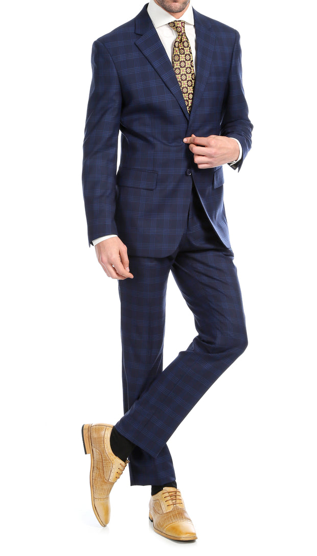 Yves Navy Blue Plaid Check Men's Premium 2pc Premium Wool Slim Fit Suit - Ferrecci USA