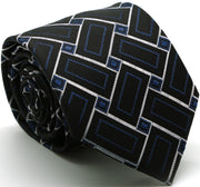 Mens Dads Classic Navy Geometric Pattern Business Casual Necktie & Hanky Set Z-11 - Ferrecci USA