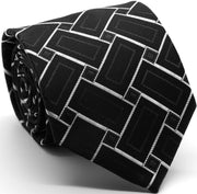 Mens Dads Classic Black Geometric Pattern Business Casual Necktie & Hanky Set Z-9 - Ferrecci USA