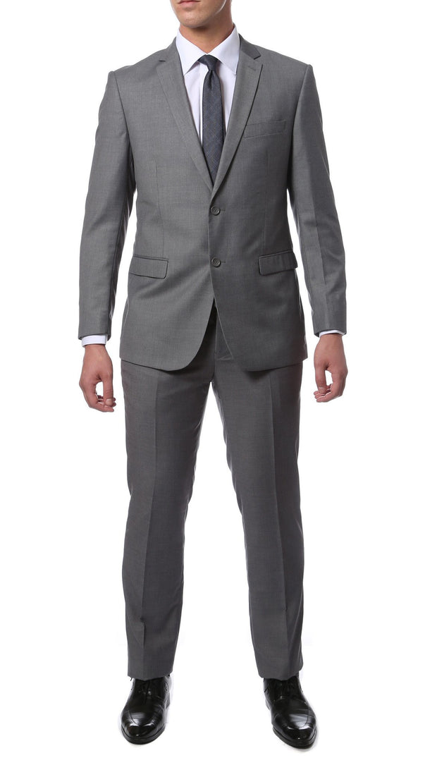 Light Grey Slim Fit Modern Men's 2 Piece Suit - Ferrecci USA