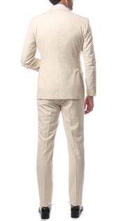Mens 2 Piece 2 Button Slim Fit Tan Zonettie Suit - Ferrecci USA