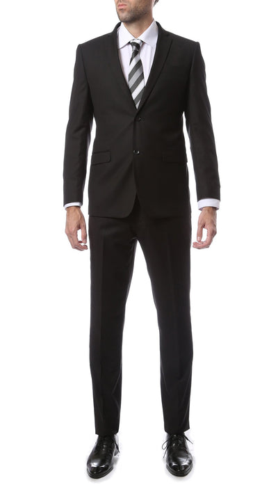 Mens 2 Piece 2 Button Slim Fit Black Zonettie Suit