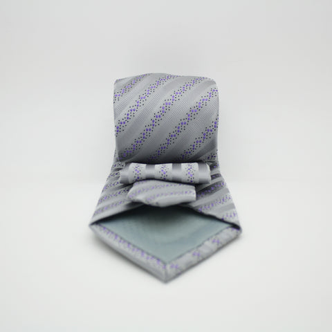 Mens Dads Classic Grey Striped Pattern Business Casual Necktie & Hanky Set ZO-12