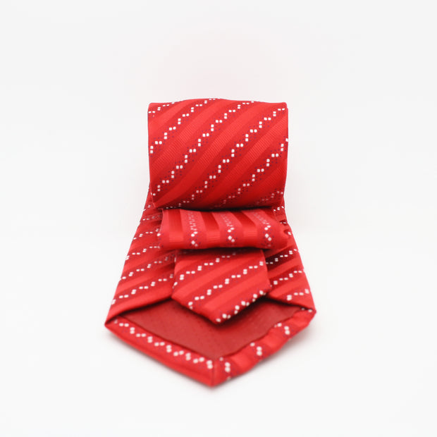 Mens Dads Classic Red Striped Pattern Business Casual Necktie & Hanky Set ZO-1 - Ferrecci USA