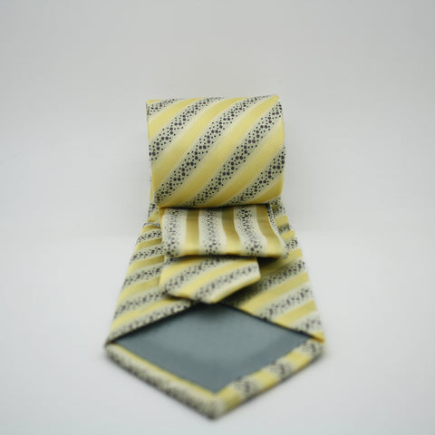 Mens Dads Classic Yellow Striped Pattern Business Casual Necktie & Hanky Set ZO-5
