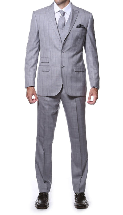 Zillo Silver Grey 3 Piece Vested Slim Fit Plaid Suit