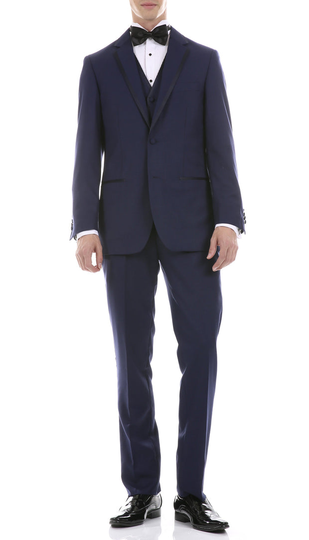 Celio Navy Slim Fit 3 Piece Tuxedo - Ferrecci USA