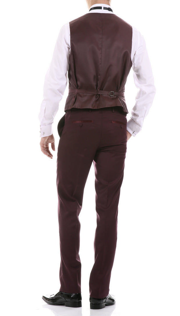 Celio Burgundy 3 Piece Slim Fit Tuxedo - Ferrecci USA
