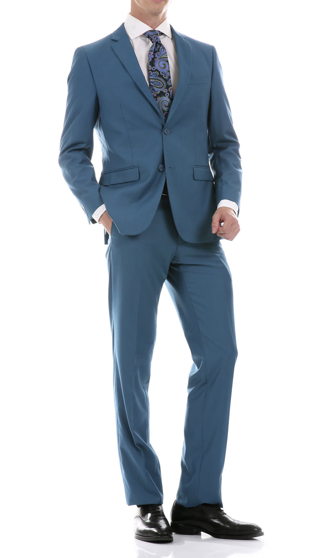 Oslo Teal Notch Lapel 2 Piece Slim Fit Suit - Ferrecci USA