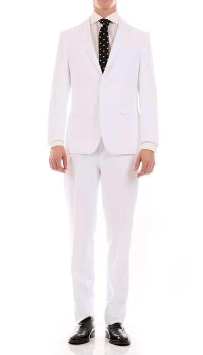 Oslo White Slim Fit Notch Lapel 2 Piece Suit - Ferrecci USA