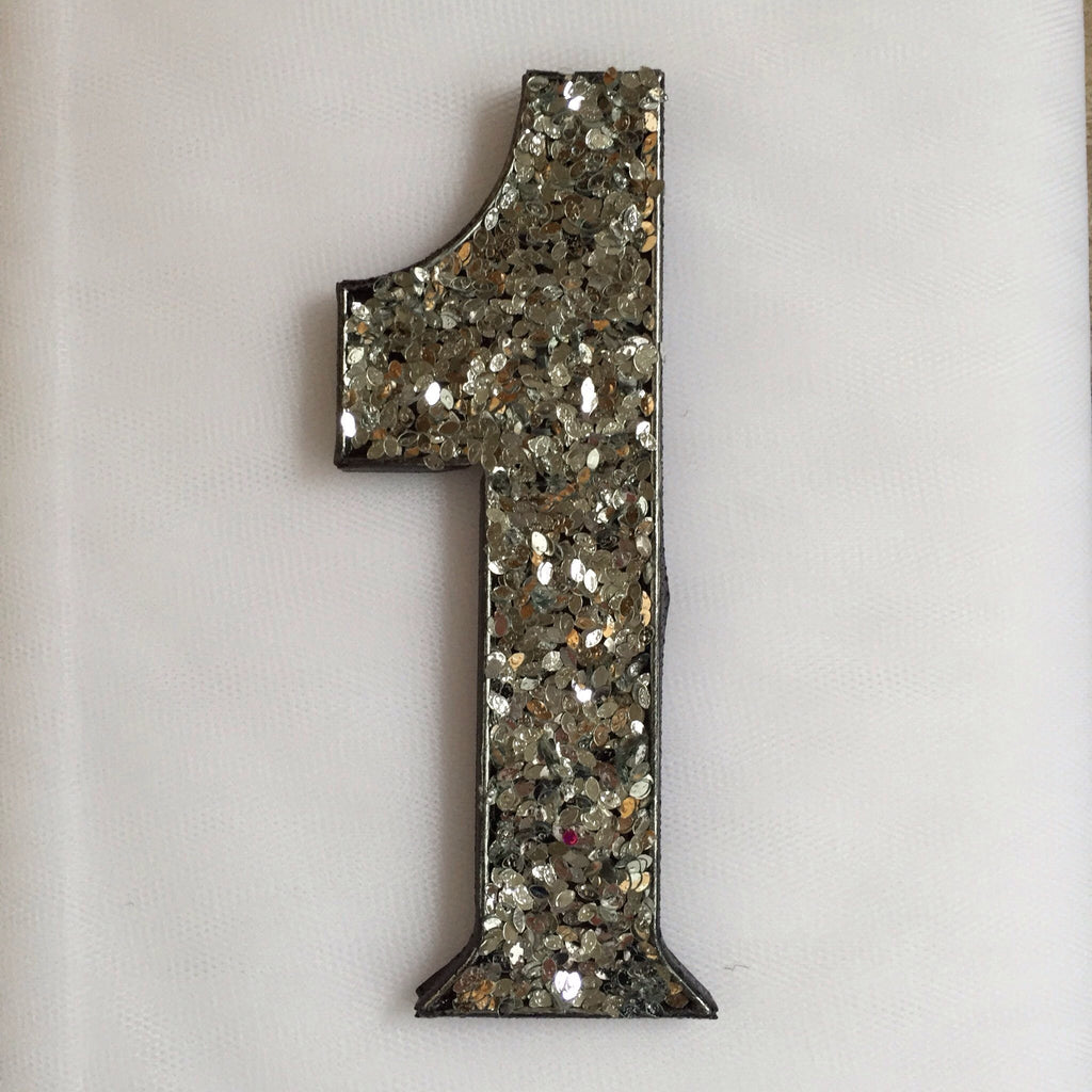 Single Silver Glitter Numbers Deco
