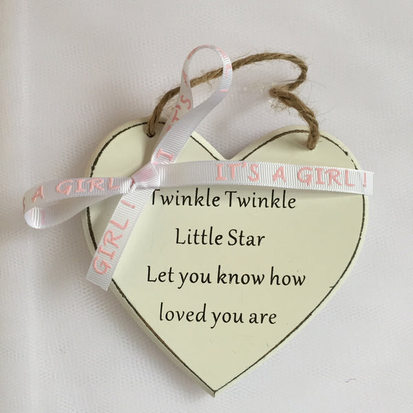 Baby gift 'Twinkle' Heart shaped wooden ornament