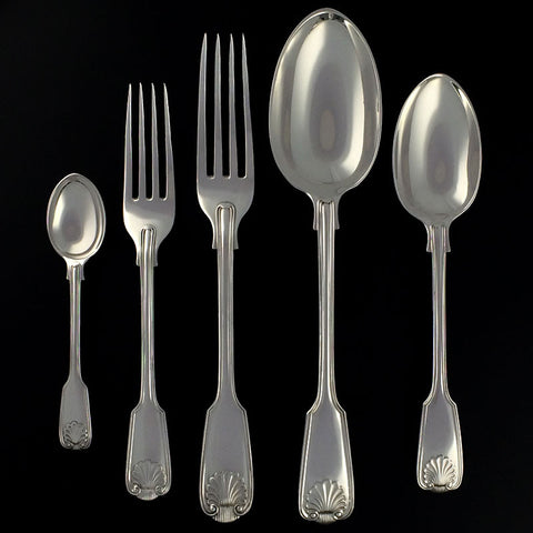 Sterling Silver Fiddle, Thread & Shell Pattern Flatware