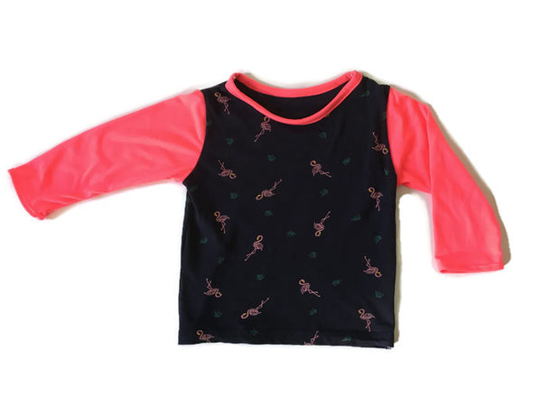 Neon Flamingos Upcycled Top - 3 yrs +